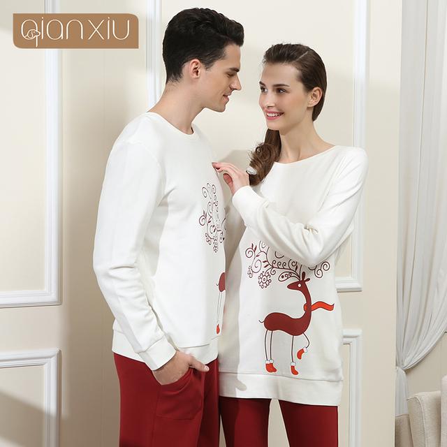 Qianxiu conjuntos Pijamas Para Homens pijamas de algodão pijamas de manga Longa O-pescoço Salão desgaste