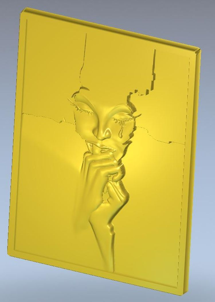 cnc Panno_face_1 in STL file format 3d model  relief for 3d model relief for cnc in stl file format the girl from the bathroom