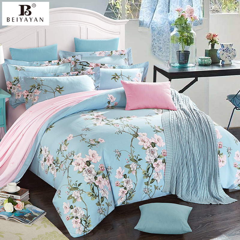 beiyayan japan style blue floral duver cover pink insider bed sheets bedding set 100 cotton king queen elegant comforter sets