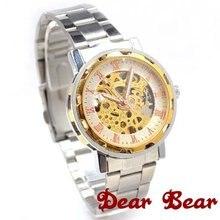 Роскошные элегантные модные механические стальные унисекс римские цифры наручные часы, 6 шт./партия