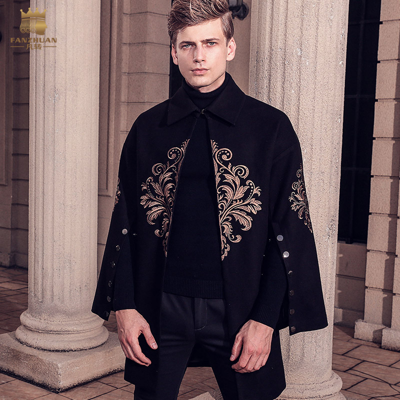 Fanzhuan Free Shipping New male man men fashion lapel woolen coat 2017 winter baroque trumpet sleeve long embroidery coat 710179