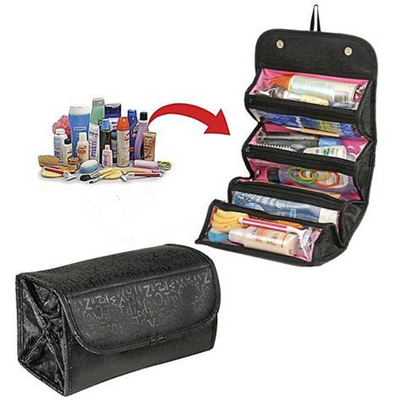 Travel Cosmetic Bag Roll Up Makeup Toiletry Bags Hanging Jewelry  Organizer-in Makeup Organizers from Home   Garden on Aliexpress.com  06c327a96cbbd