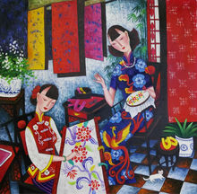 Hand Painted High Quality Canvas Painting Chinese Style Figure Oil Painting on Canvas Wall Art Picture Painting for Living Room top artist hand painted high quality luxury wall art chinese girl oil painting on canvas vintage art chinese girl oil painting