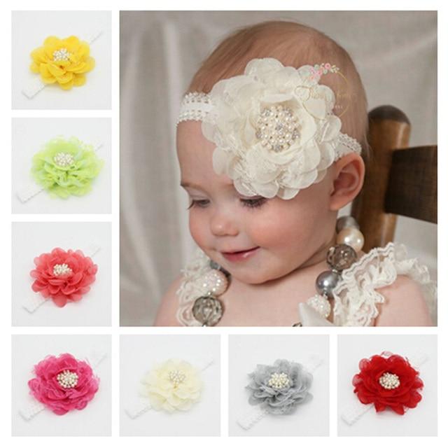 58a05218268 10pcs Lot Kids Headbands Newborn Girl Rhinestone Chiffon Lace Headband Big Flower  Pearl Crown Hair Band Accessories