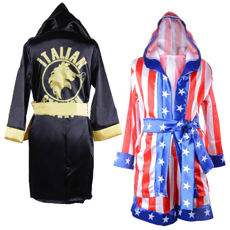 Children Boy Red Black Rocky Balboa Boxer Costume Clothes With Shorts Movie Boxing Robe Costume For Kids Appllo Flag