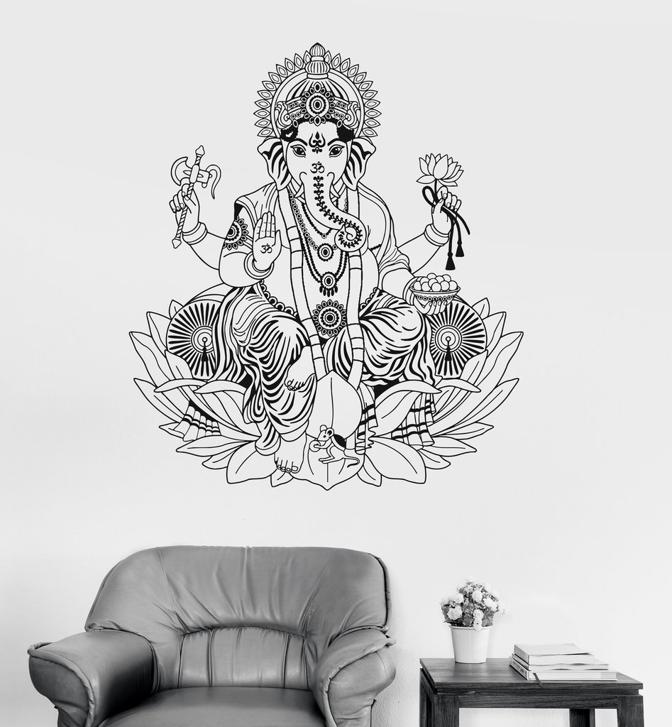 Us 12 97 25 Off Vinyl Wall Decal Ganesha Lotus Hinduism God Hindu India Decor Wall Stickers Elephant Wall Stickers Home Decor Living Room A418 In