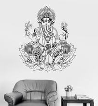 Vinyl Wall Decal Ganesha Lotus Hinduism God Hindu India Decor Wall Stickers Elephant Wall Stickers Home Decor Living Room A418(China)