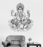 Vinyl Wall Decal Ganesha Lotus Hinduism God Hindu India Decor Wall Stickers Elephant Wall Stickers Home Decor Living Room A418