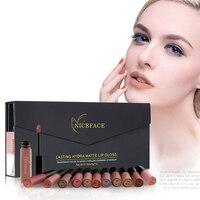 12PCS Set Liquid Matte Lip Gloss Cosmetics Nude Lip Lipsticks Long Lasting Metallic Lipstick Stick Make