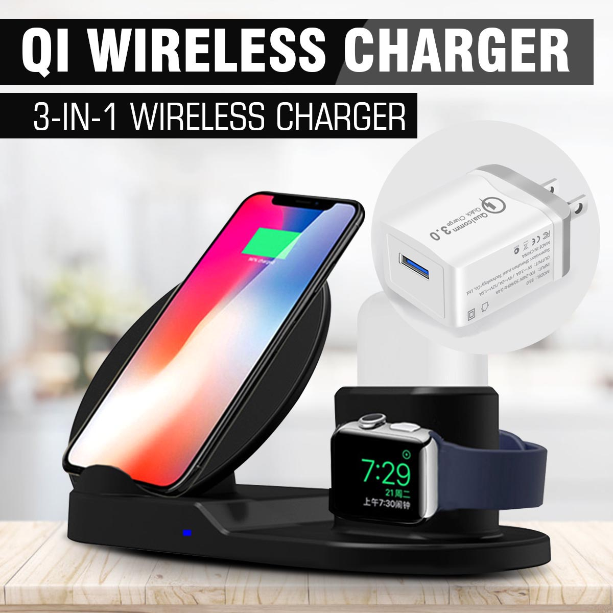 Fast Charging 3 In 1 10w Qi Wireless Charger Dock Station