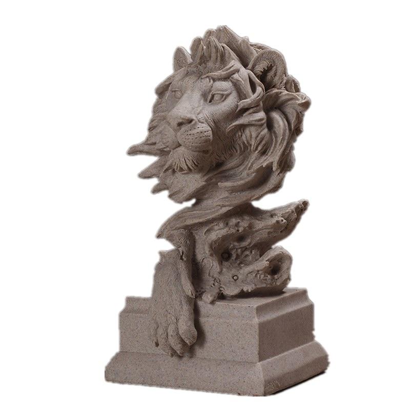 Sandstone Lion Wolf Pig Eagle Horse Head Bust Figurine Animal Statue Resin Art&Craft Home Bedroom Cabinet Decorations R100 figurine