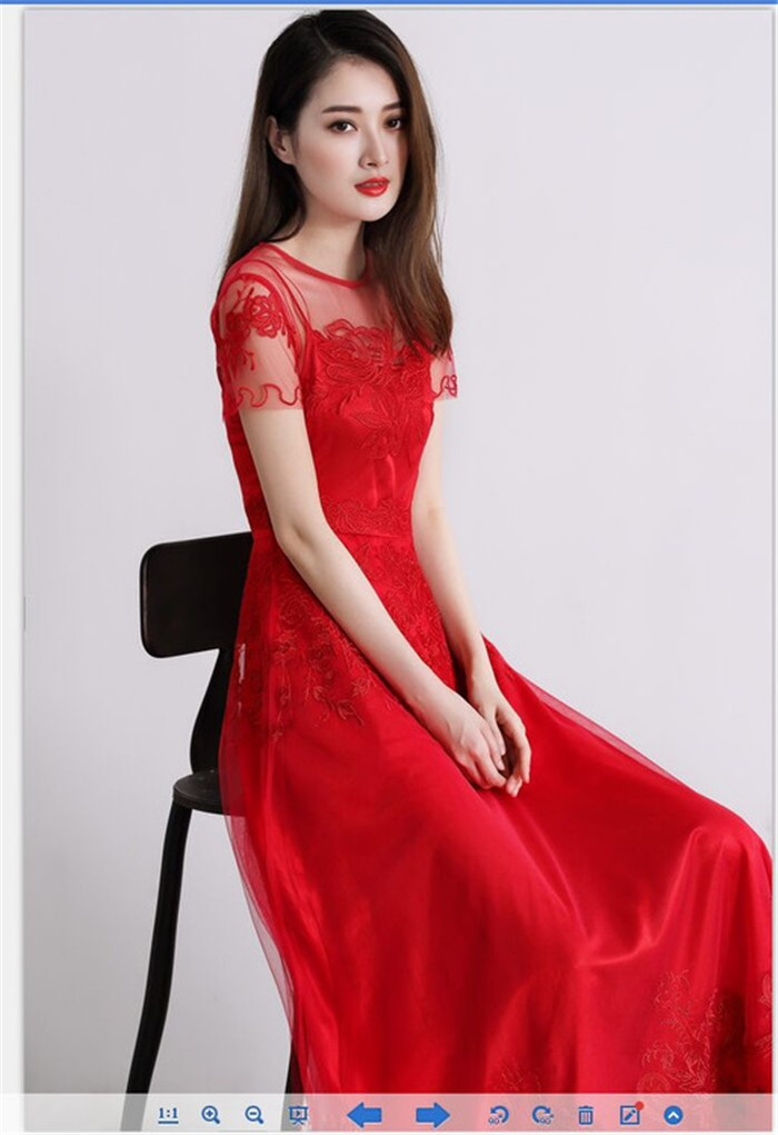 ladies runway long embroidery mesh dresses whtie red summer maxi ... 7e634160e