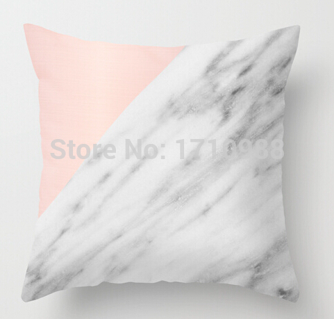 Real Carrara <font><b>Italian</b></font> Marble and Pink Double size Printing Square nice Pillowcase for 12x12 14x14 16x16 18x18 20x20 inch