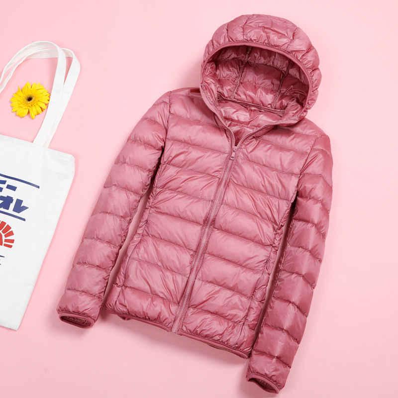 Fitaylor 2020 kobiety Ultra lekkie kurtki z puchu kaczego nowy zimowy płaszcz z kapturem z długim rękawem ciepła, slim 4XL Plus rozmiar kurtka znosić