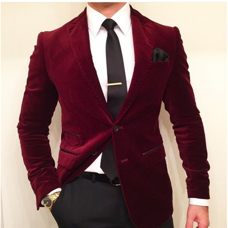 jacket+pants+tie Devoted High Quality Dark Red Velvet Mens Suits Groom Tuxedos Groomsmen Wedding Party Dinner Best Man Suits W:51