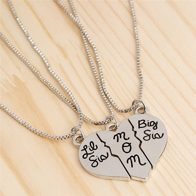3pcs Lettering Little Sis Mom Love Heart Pendant Necklace Simple Special Gift