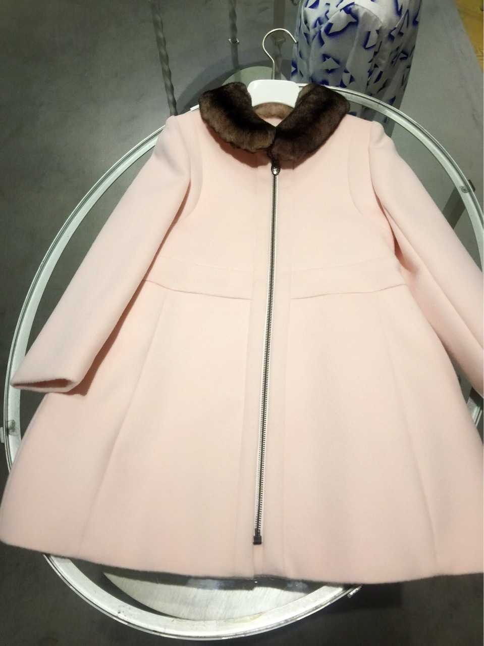 2017 Baby Girls Coat Winter Autumn Fur Turn-Down Collar Long Sleeve Cotton Woolen Children's Jacket Girls Outwear lucky panda 2016 woman winter cotton thickened slim slim down in the long coat coat of students lkb186