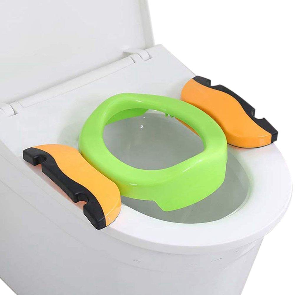WOTT Children Plastic Toilet Potties Seat Chamber Pots Kids Comfortable Portable Toilet Ring Baby Potty Folding Chair Green