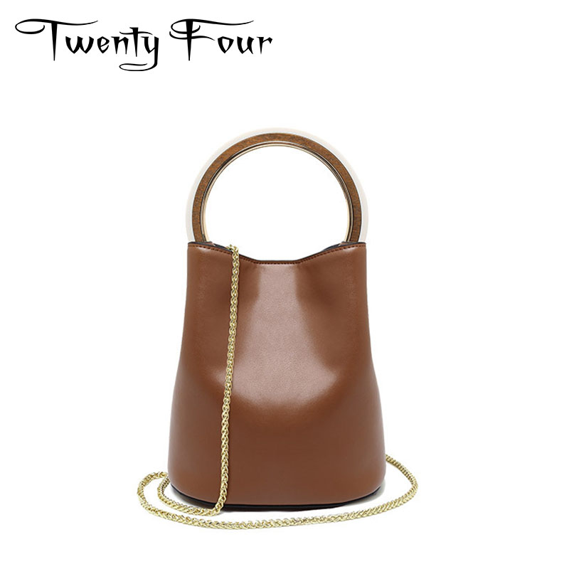 Twenty-four Woman Handbags Genuine Leather Shoulder Ring Bags With Chain Fashion