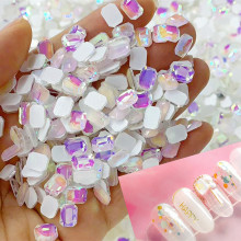 AB Flat Back Glass Nail Art Rhinestones 50pcs Manicure Shaped Magical Diamonds Japanese Mocha Rhinestone, 12