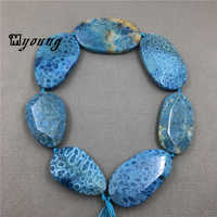 Oval Faceted Blue Chrysanthemum stone slice beads,Natural Coral Gem Stone Sediment Slab Pendant Beads for jewelry MY1505