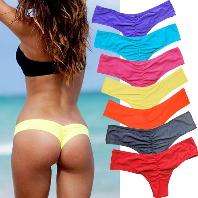 Brazilian Ruched Bikini Bottom Thong