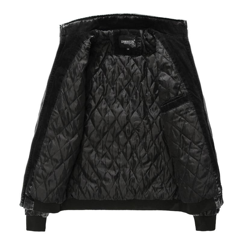 Chaud Yuwaijiaren Hommes Splice Cuir Denim Plus De En Windwproof Tranchée Noir Manteau Moto Velours Casual Mode D'hiver Veste rzzRA7