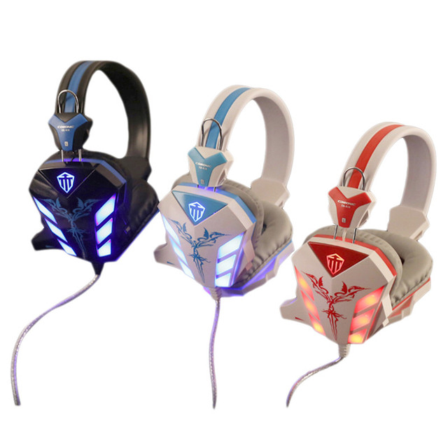 Cosonic cd-618 ewith over-ear auriculares de juegos de auriculares micrófono estéreo bass led luz arphone diadema para el juego de pc