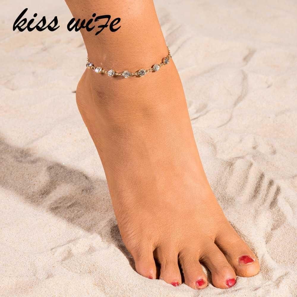 KISSWIFE Vintage Moda Kristal Halhal Kadınlar Link Çene Bohemian Altın Gümüş Renk Ayakkabı Çizme Zinciri Bilezik ayak takısı