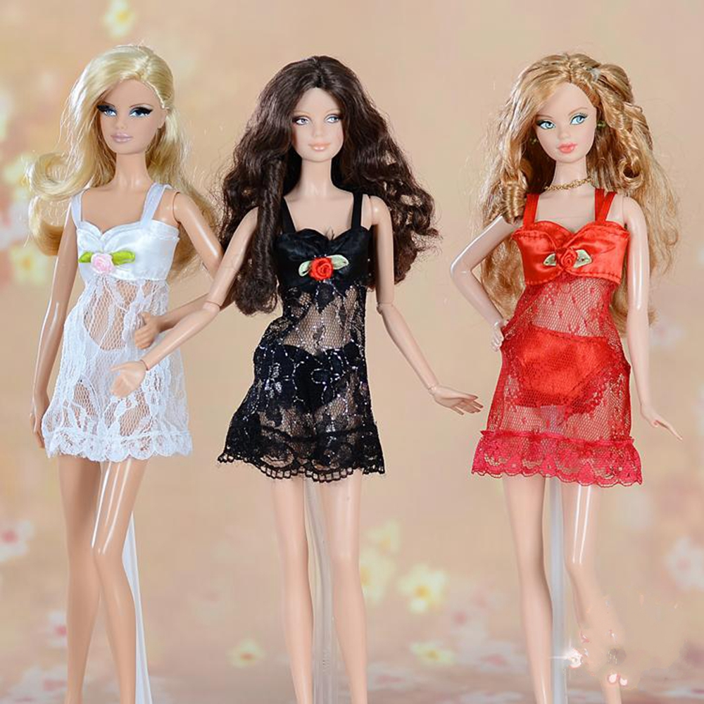 1set Sexy Pajamas Lingerie Lace Costumes + Bra + Underwear Clothes For Barbie Doll Clothes Gown Underwear Lace Dress 1018 sexy costumes lace mesh braces skirt pajamas purplish red