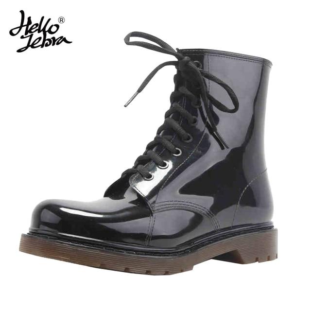 Hellozebra 100% waterproof Men shoes rain boots black Lace-Up Martin wellington Adjustable all-season wear stylish & protective