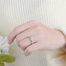 Zircon Wedding Rings White Gold Color Engagement Party Fashion Jewelry