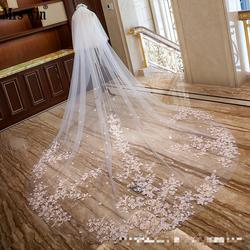 Lace Pink Flower Applique Wedding Veil Soft Tulle 3.5M Luxury Two Layers Bridal Voile Mariage With Face Veils Accessori Sposa