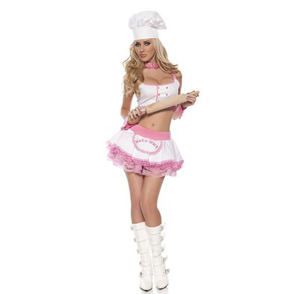 Kitchen Sweety Spicy Girl Cook Costume Pink Trim White Dress with ...