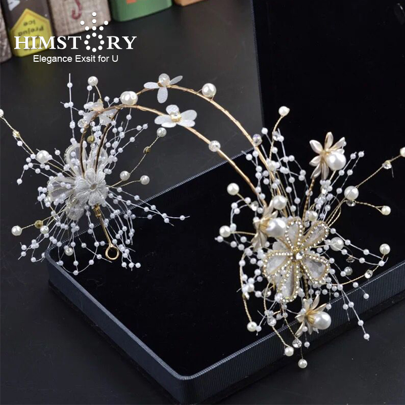 HIMSTORY Handmade Double Laryer Wedding Hairband Leaves Pearl Headbands Flower Head Piece Bride Vintage Hair Accessories