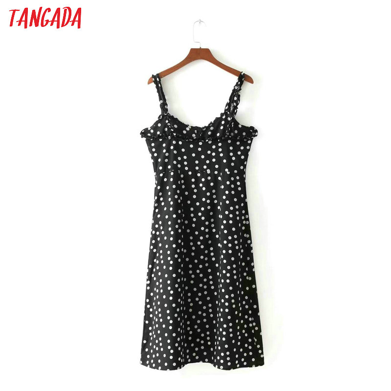 2f7e4fbd31435 Tangada women polka dot black 50 s dress sleeveless ruffle korean fashion  2018 mini dresses robe vintage brand vestidos 3D33