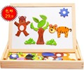 Magnetic Wooden Toys For Kids/Child/Children Double-faced 3d Puzzle Baby Gift-Free Shipping