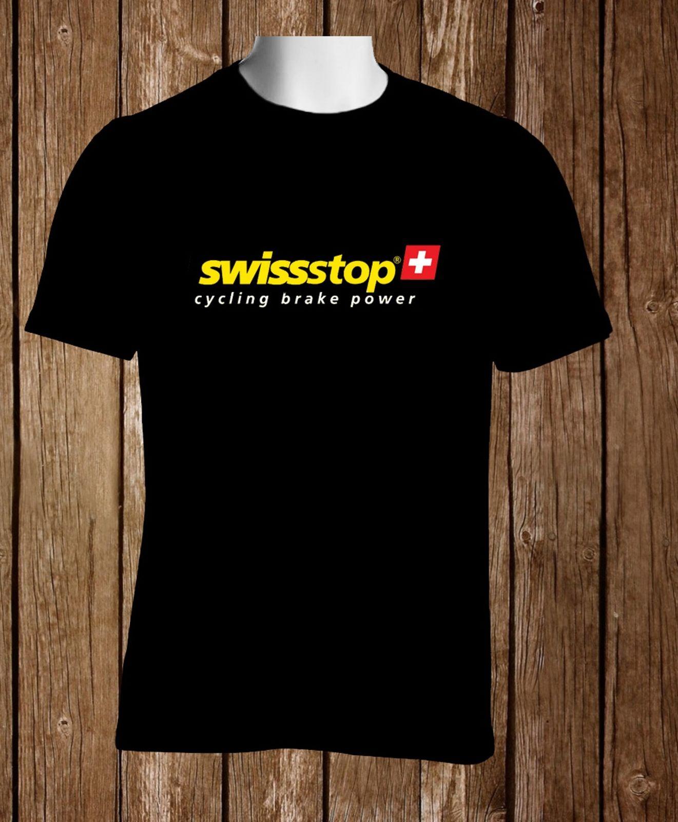 Black T-Shirt Swiss Stop Cyclinged Brake Power Mens Tshirt S to 3XL