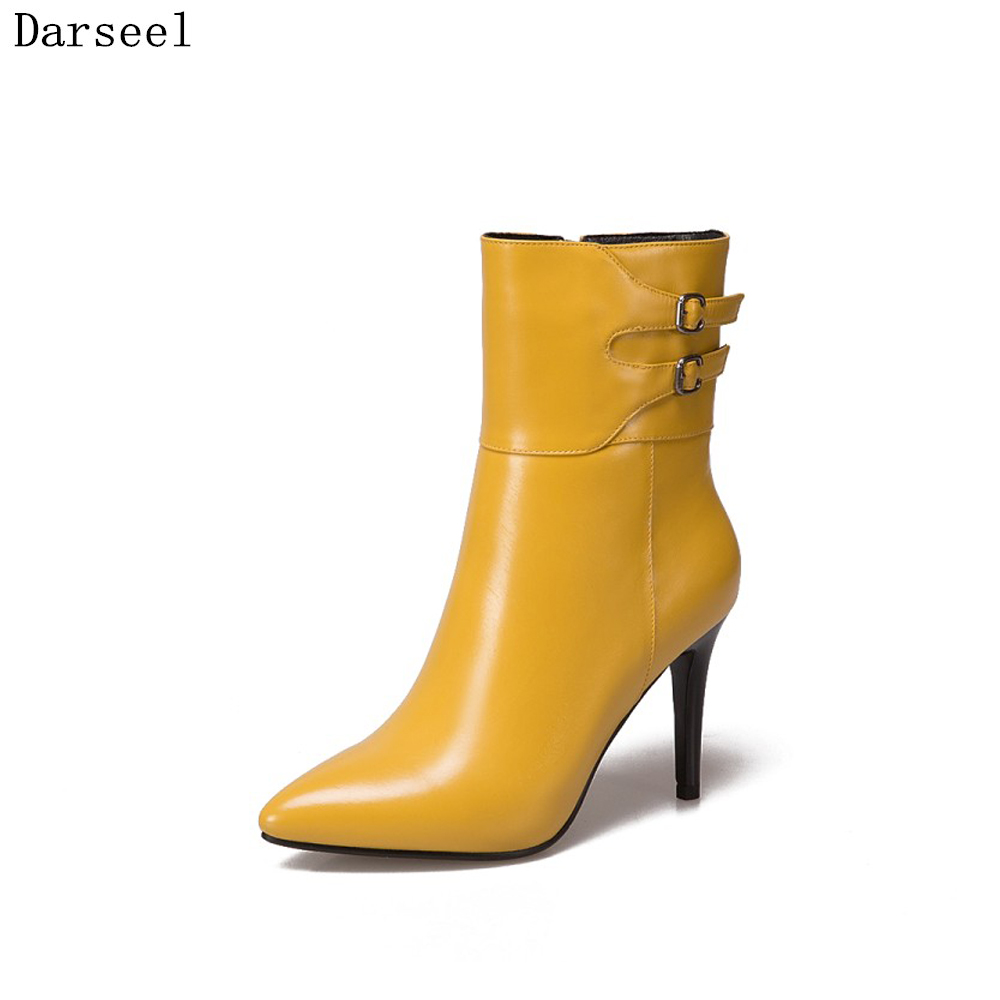 Darseel 2017  Winter Buckle Genuine Leather Boots Women Casual Pointed Toe Lady High Heel Boots Plus Size 33-43 Fashion Shoes цены онлайн