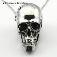 Moveable Teeth Charm 316L stainless steel Pendant Necklace hollow out Silver Big Skull Head Rocker Wholesale Free shipping KP675