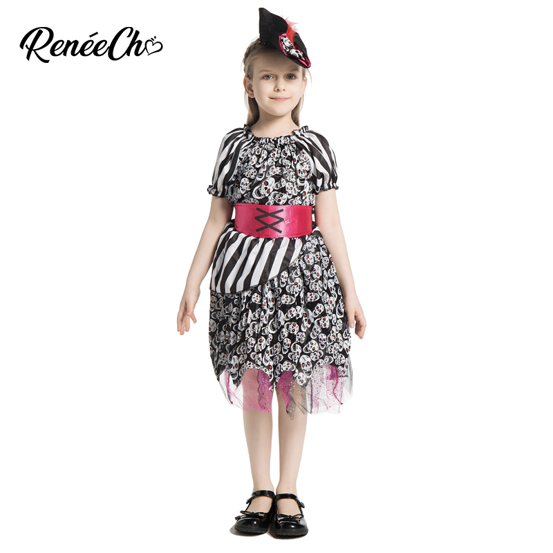Child Skull Skeleton Halloween Girls Kids Fancy Dress Costume Party Cosplay