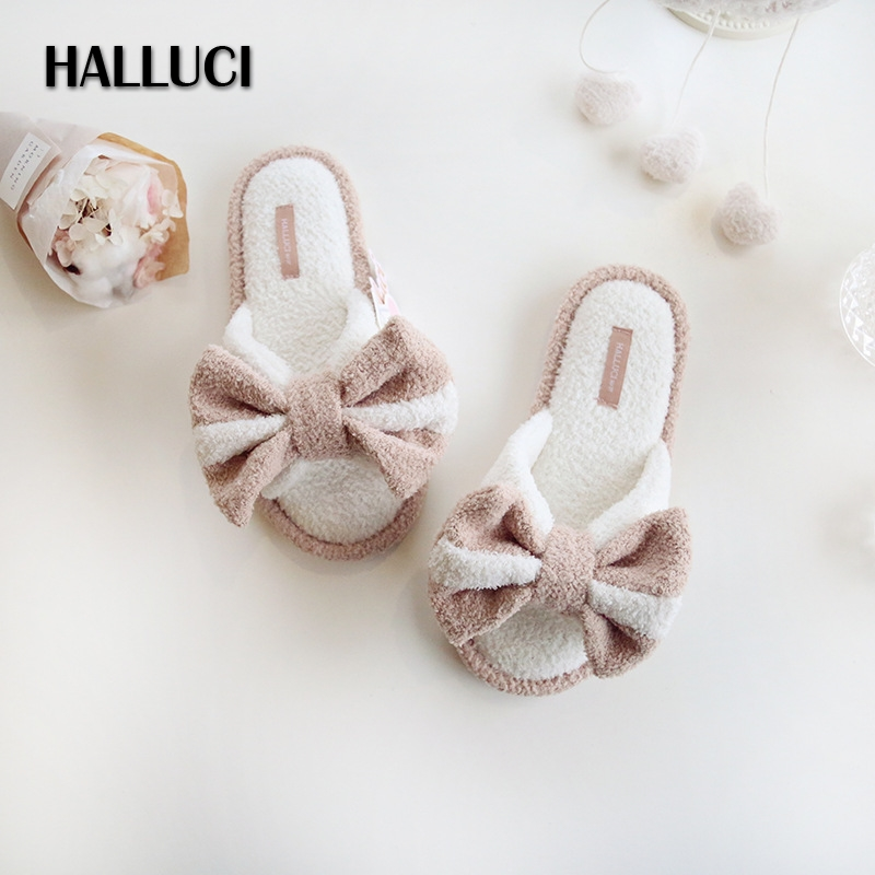 HALLUCI Summer cute big bowknot home slippers women faux suede bottom Indoor House Plush Shoes Soft Flat shoes for women nk 1967 summer shoes home slippers women casual fashion women flat indoor lady slippers house slippers summer