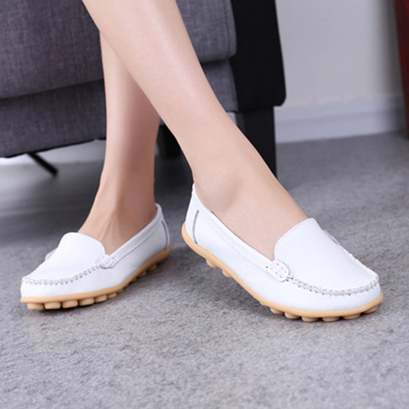 2017 New Women PU Leather Shoes Moccasins Mother Loafers Soft Casual Flats Female Summer Driving Breathable Footwear DT916 split leather dot men casual shoes moccasins soft bottom brand designer footwear flats loafers comfortable driving shoes rmc 395