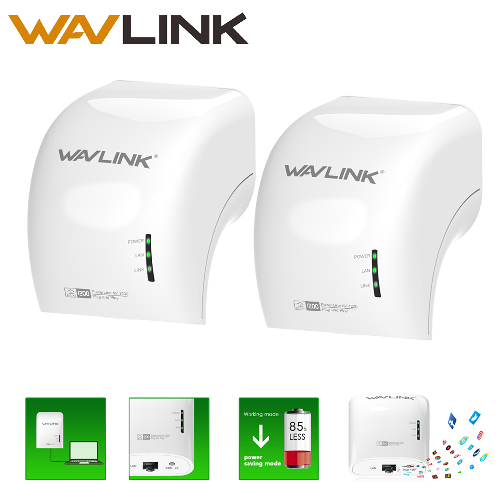 Powerline network adapter 1200Mbps Gigabit Ethernet plc Adapter Dual Band Extender Access Point Pair Beamforming kit Wavlink 2pc адаптер tp link tl pa4010kit av500 nano powerline ethernet adapter ultra compact size 500mbps powerline datarate 10 100mbps fast ethernet