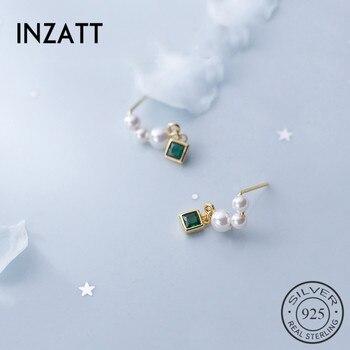 INZATT Real 925 Sterling Silver Pearl Tassel Drop Earrings For Elegant Women Wedding Party Cute Fine Jewelry 2019 Accessories