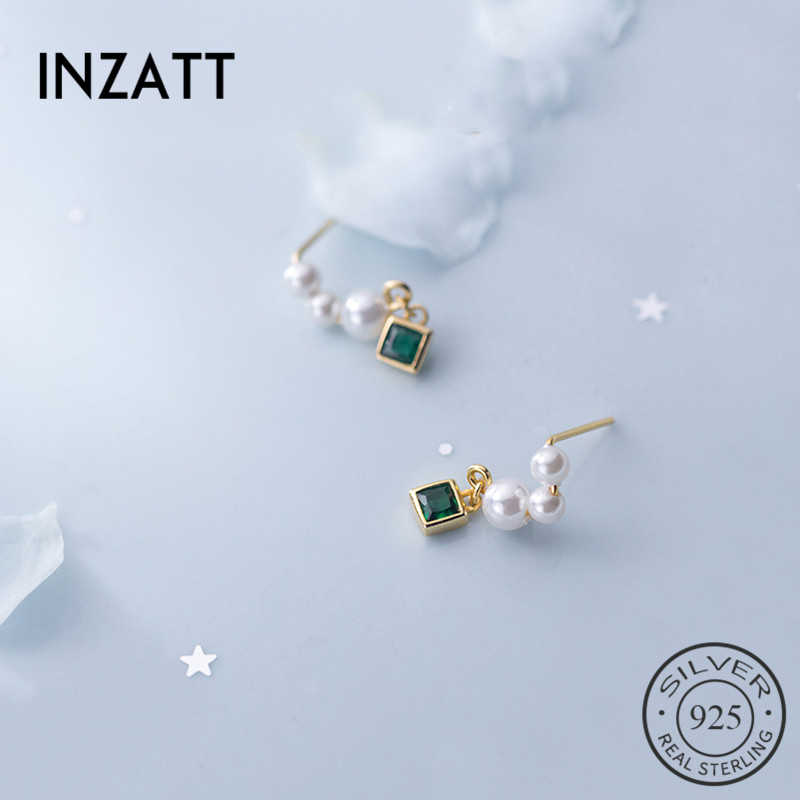 INZATT Drop Earrings Fine-Jewelry Pearl Wedding-Party 925-Sterling-Silver Elegant Women title=