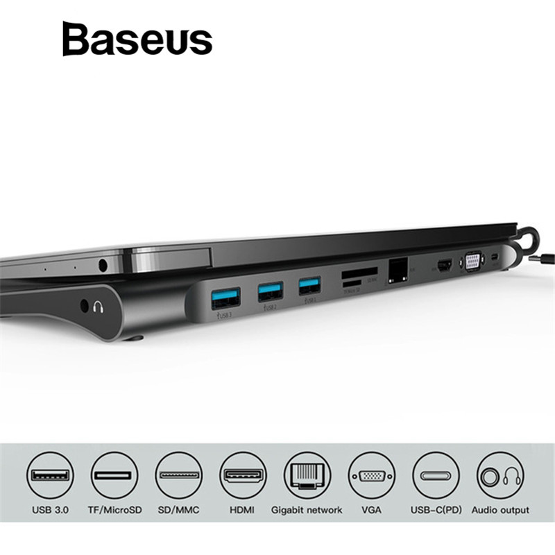 Baseus Multi All-in-1 usb type-C к HDMI VGA Видео Аудио конвертер адаптер USB 3,0 концентратор с SD/TF Card Reader для Macbook Pro