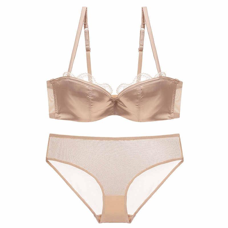 7f595bdaa High Quality Lingerie Set Women Sexy Transparent Panties Push Up Bra Lace  Underwear Set Ultra Thin