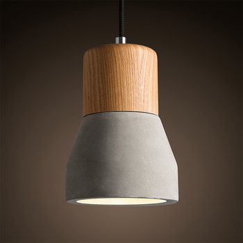Nordic Pendant Lights Wood E27 Socket Retro Vintage Cement Pendant Lamp for Dining Room Indoor Decoration Droplight Hanging Lamp