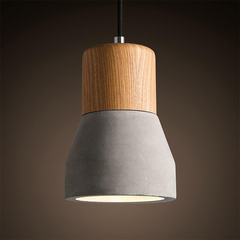 Suspension nordique bois E27 Socket rétro Vintage ciment suspension lampe pour salle à manger décoration d'intérieur lampe pendante